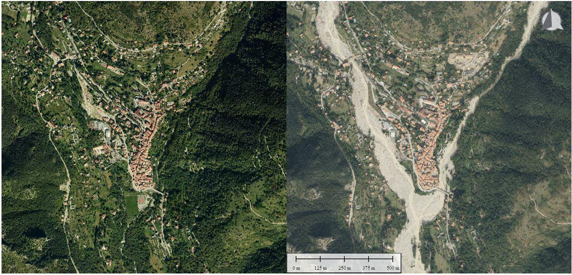 Le Boréon à sa confluence avec la Vésubie en 2014 (gauche) et en 2020 post-Alex (droite).